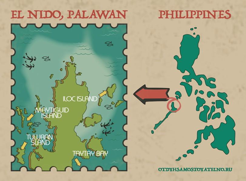 эль нидо на карте Филиппин