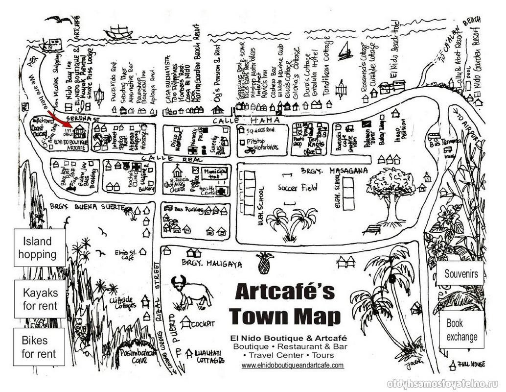 карта-схема artcafe в эл нидо