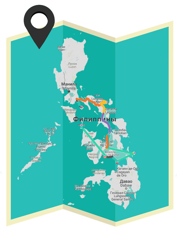 Подробные маршруты на карте по Филиппинам