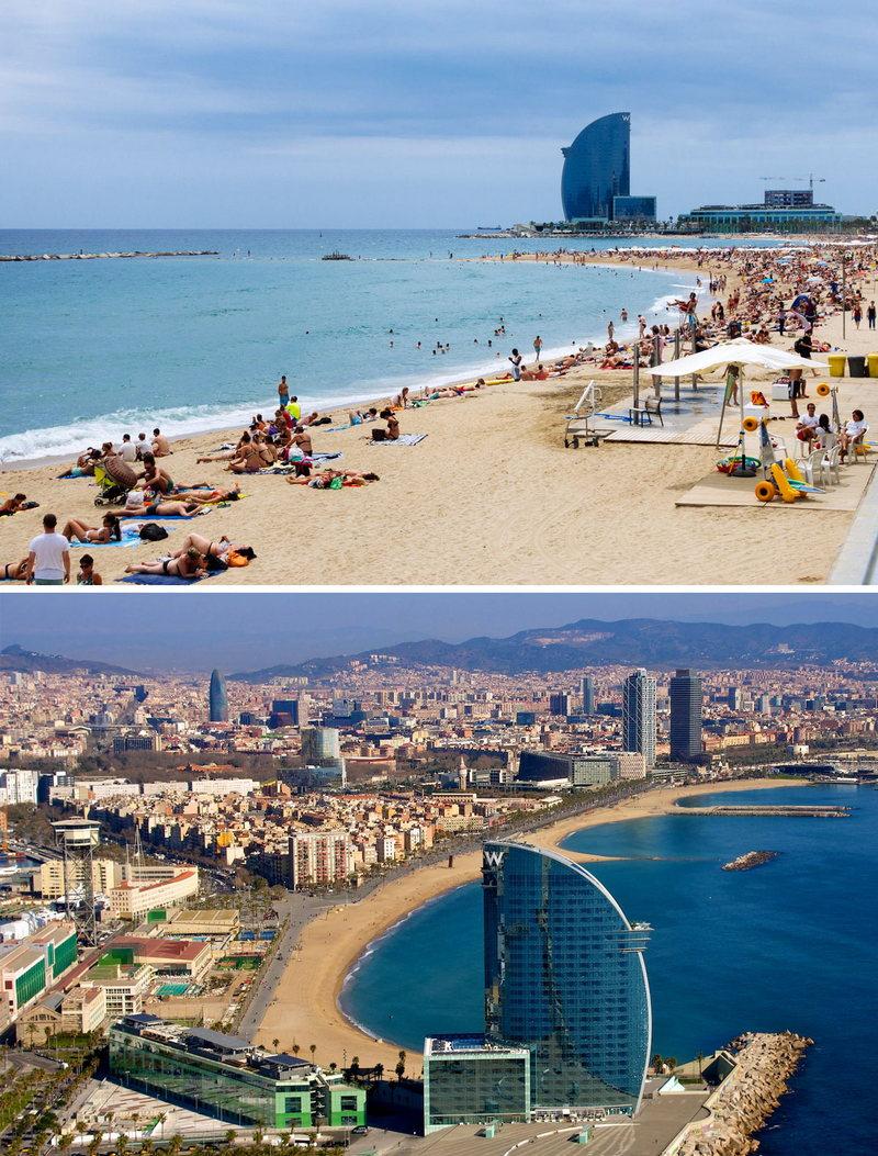 Фото пляжей Барселоны от отеля W до Порта Олимпик
