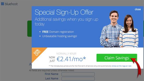 Наименьшая цена bluehost - жмем спецпредложение и создаем блог