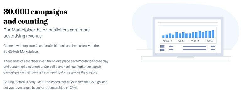 buysellads - сервис для заработка онлайн, который управляет размещением рекламы на вашем сайте или блоге