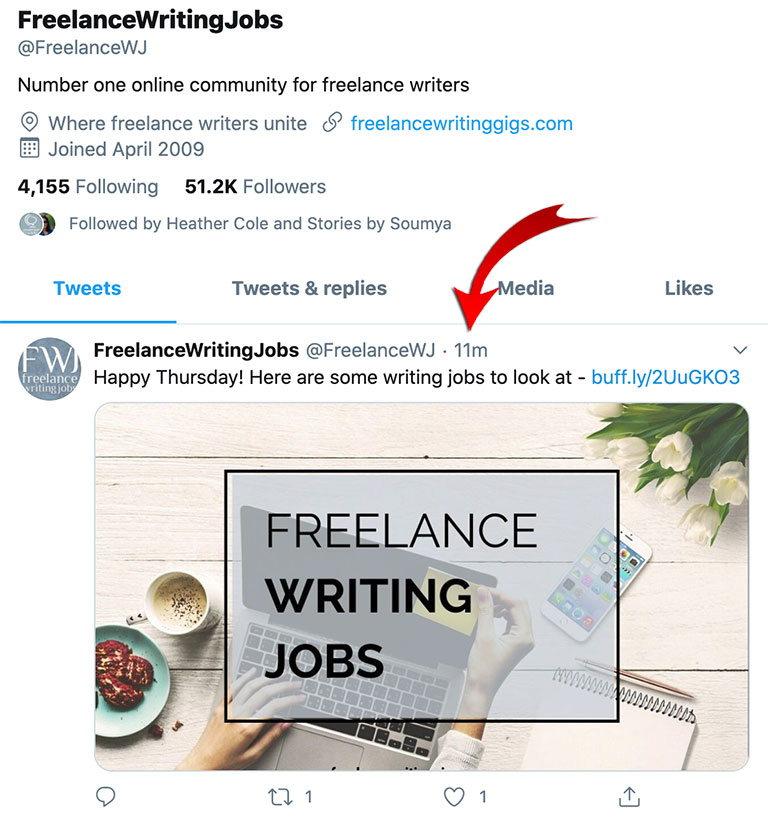 Предложение о работе копирайтером через Твитер