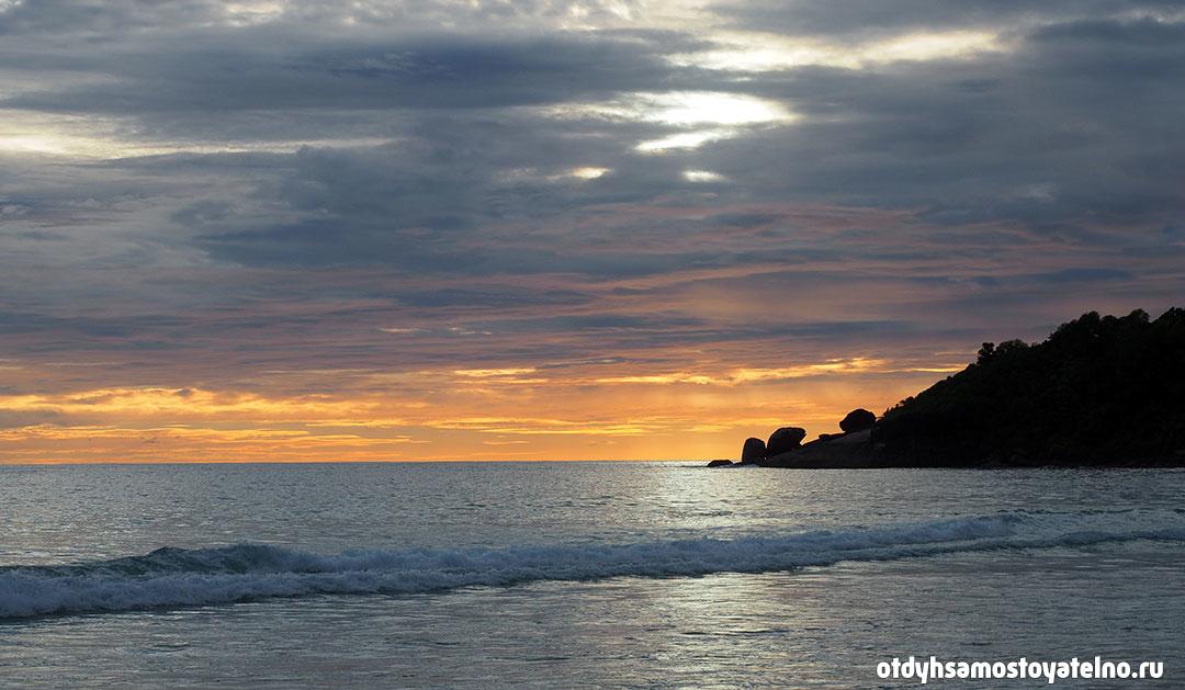 красивый закат на сейшелах