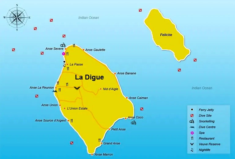 Карте острова Ла-Диг
