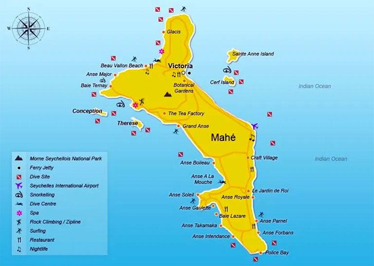 Карте острова Маэ