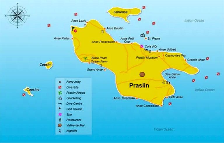 Карте острова Праслин
