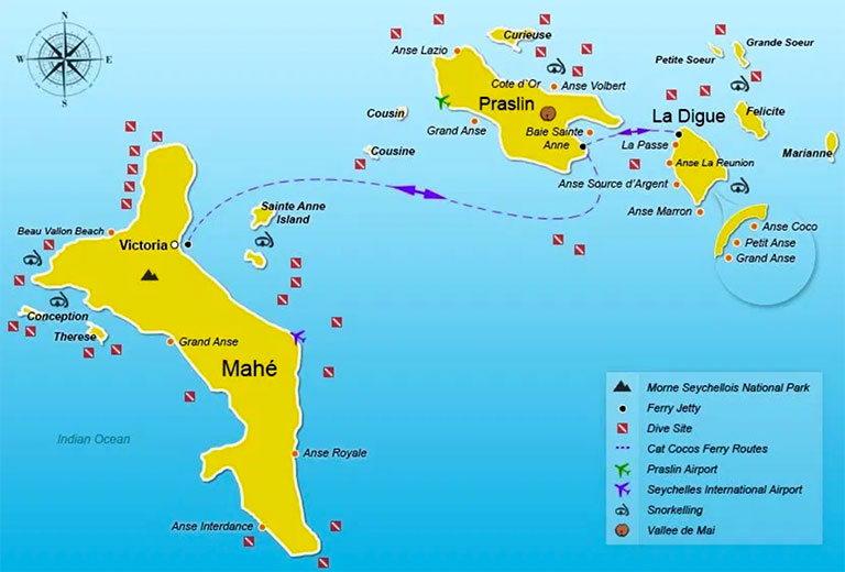 сейшельские острова - карта