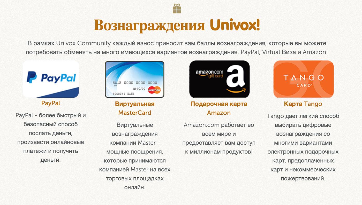 оплата univoxcommunity