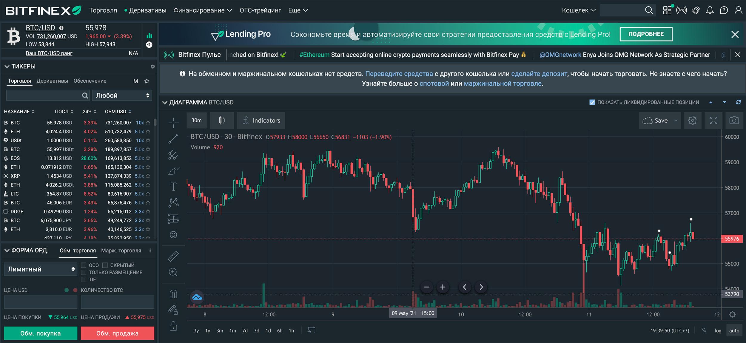 биржа криптовалют bitfinex платформа интерфейс